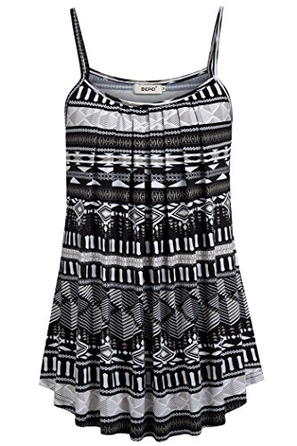 BEPEI Striped and Floral Tanks, Sleeveless Summer Casual Cami Tops Flowy Tunics Boho Black
