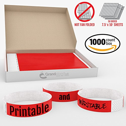 Grandstand Ink - 3/4in BRIGHT RED Tyvek® Wristbands - Print & Writable Sheets in Distribution Box Paper Feel Party Event Bracelets For Churches or Schools 1000 ID Bands 100 Customizable Sheets Per Box (Peach Printing Paper)
