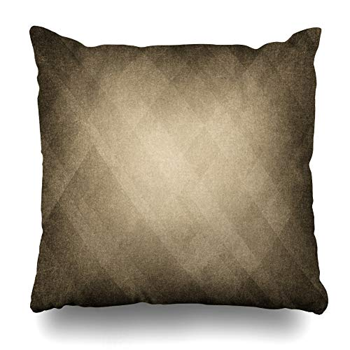 (Ahawoso Throw Pillow Cover Light Brown Abstract Retro Sepia Diamond Pattern Old Bright Center Earth Tone Warm Colors Design Home Decor Cushion Case Square Size 20 x 20 Inches Zippered Pillowcase)
