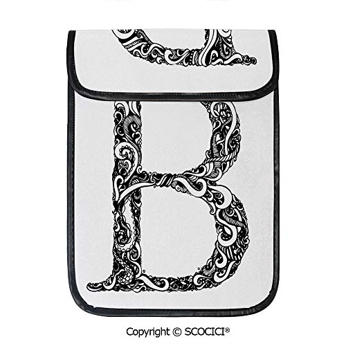 (SCOCICI Shockproof Tablet Sleeve Compatible 12.9 Inch iPad Pro Black and White Abstract Swirls Classic Design Alphabet Uppercase B Symbol Print Tablet Protective Bag)