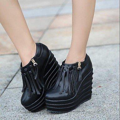 Zapatillas mujer primavera PU Confort Casual Tacón cuña negro blanco Black