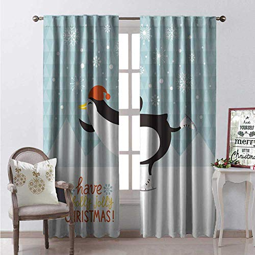 - Georgia Window Curtain Fabric Have a Holly Jolly Christmas Lettering Ice Skating Cheerful Penguin Snowing Drapes for Living Room W72 x L108 Multicolor