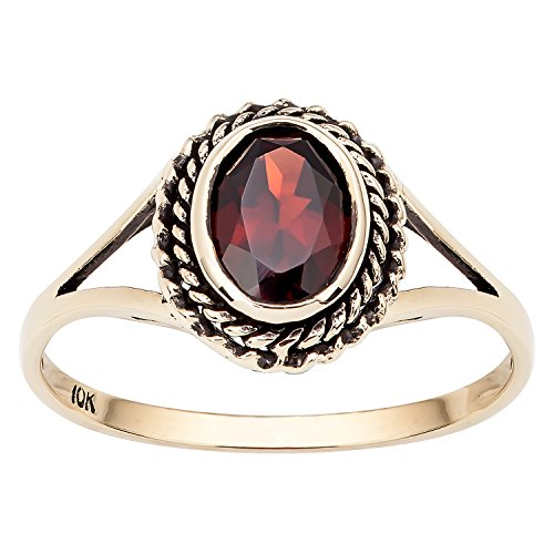 Yellow Gold Genuine Garnet Ring - 10k Yellow Gold Vintage Style Genuine Oval Garnet Split Shank Ring