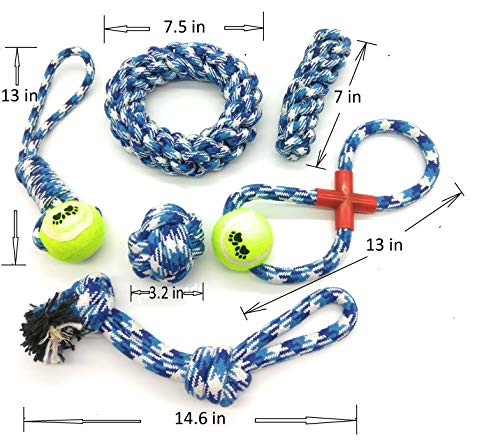 LEEKIWI Dog Toys Chew Toys 6 Pack Pet Rope Toys Aggreaaive
