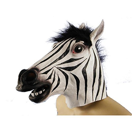Costume Horse Zebra (Latex Zebra Head Mask for Halloween Cosplay Costume)