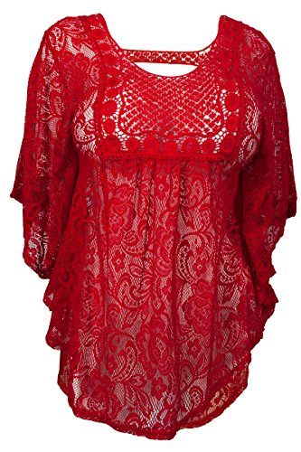 Red Crochet Lace - eVogues Plus Size Sheer Crochet Floral Lace Poncho Top Red - 2X