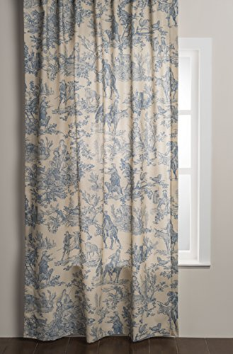 Maison d' Hermine The Miller 100% Cotton Toile Blue Curtain 50 Inch by 84 Inch
