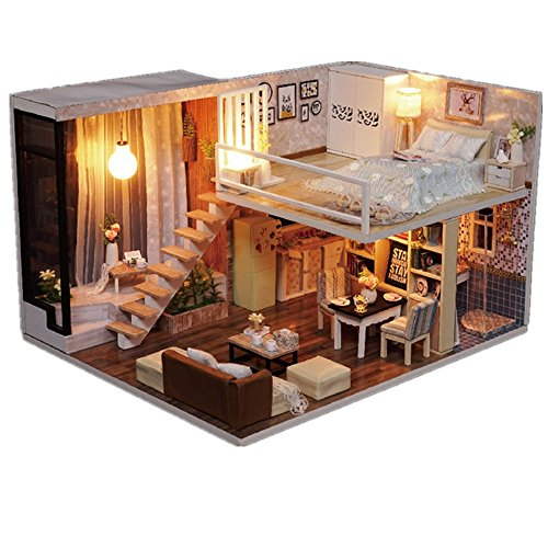 ILUCI Handmade Miniature Dollhouse Accessories 3D Wooden DIY Dollhouse Kit With led Light Festive Gift (Garden Furniture Diy)