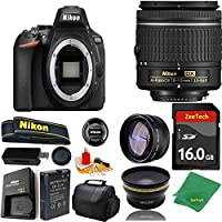 Great Value Bundle for D5600 DSLR – 18-55mm AF-P + 16GB Memory + Wide Angle + Telephoto Lens + Case