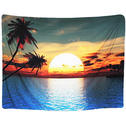 Paradise Sunset Tapestry - BLEUM CADE Wall Tapestry Ocean with Sunset and Palm Tree Tapestry Landscape Wall Hanging Tapestry Wall Decor Tablecloth Tapestries (51.2