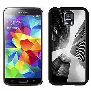 Fashionable Custom Designed Samsung Galaxy S5 I9600 G900a G900v G900p G900t G900w Phone Case With Skyscraper Buildings Black White Lockscreen_Black Phone Case