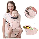360 Ergonomic Baby Carrier Adjustable Backpack with Hip Seat, 12 Positions All Seasons Summer, Baby Diaper Bag with Large Capacity, Breathable Mesh Safe Comfortable, for Infant/Toddler/Newborn,Pink