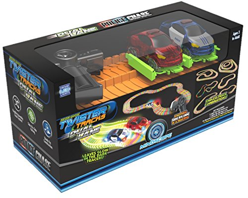 Mindscope Twister Tracks Radio Control Dual Lane Police Chase Glow in The Dark Track Set with 2 Cars and 2 Radio Controls RC (Best Police Car Chase Videos)