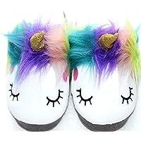 Magic Girl's Large Plush Unicorn Slippers Soft Sole Adorable Sleepy Anti-Skid Girls House Loafers