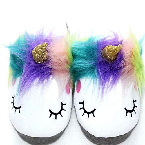 Magic Girls Large Plush Unicorn Slippers Soft Sole Adorable Sleepy Anti-Skid Girls House Loafers