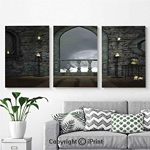 Canvas Prints Modern Art Framed Wall Mural Full Moon Birds Fairytale Fantasy Old Castle Balcony Candle Lights Night View Art for Home Decor 3 Panels,Wall Decorations for Living Room Bedroom Dining R ()
