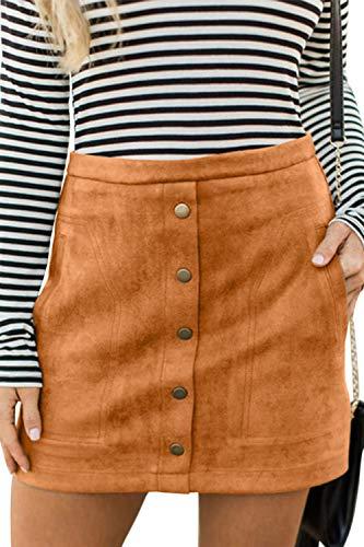 Meyeeka Junior High Waist Faux Suede Button Skirt Solid Zipper Closure A-Line Mini Skirt Khaki