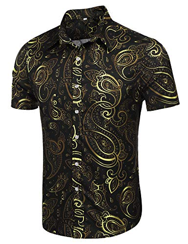 poriff Mens Fashion Floral Print Short Sleeved Button-Up Casual RetroShirt Black M -