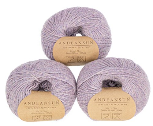 100% Baby Alpaca Yarn Skeins #4 Worsted, Afghan, Aran - Set of 3 - AndeanSun - Luxuriously Soft for Knitting, Crocheting-Great for Baby Garments, Scarves, and Hats