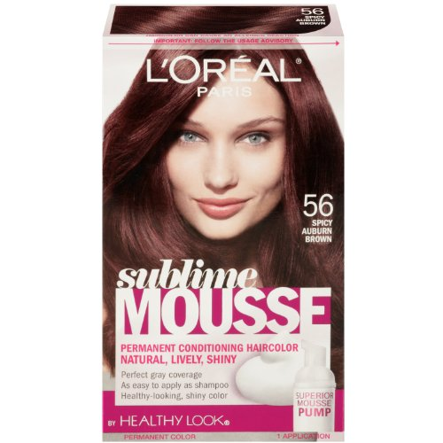 Hair Color Mousse - L'Oreal Paris Sublime Mousse by Healthy Look Hair Color, 56 Spicy Auburn Brown