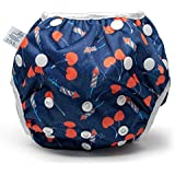 Nageuret Reusable Swim Diaper, Lauren Holiday Collaboration Adjustable to fit Babies Between N-5 Diaper Sizes, Eco-Friendly (Cherrybomb)