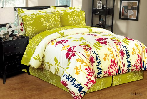 Ultra Soft 8 PC Reversible Bed in a Bag Comforter Set (King, Selena) (Bed Sofs)