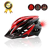 Lightweight Cycle Helmet with Removable Visor, Outdoor Adult Safety Road/Mountain Bike Helmet, CPSC Safety Certified, Inner Padding Chin Protector and visor/Rear LED Tail Light, For Adult 56-62cm