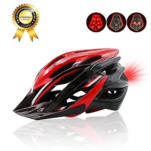 Lightweight Cycle Helmet with Removable Visor, Outdoor Adult Safety Road/Mountain Bike Helmet, CPSC Safety Certified, Inner Padding Chin Protector and visor/Rear LED Tail Light, For Adult 56-62cm by Auoon
