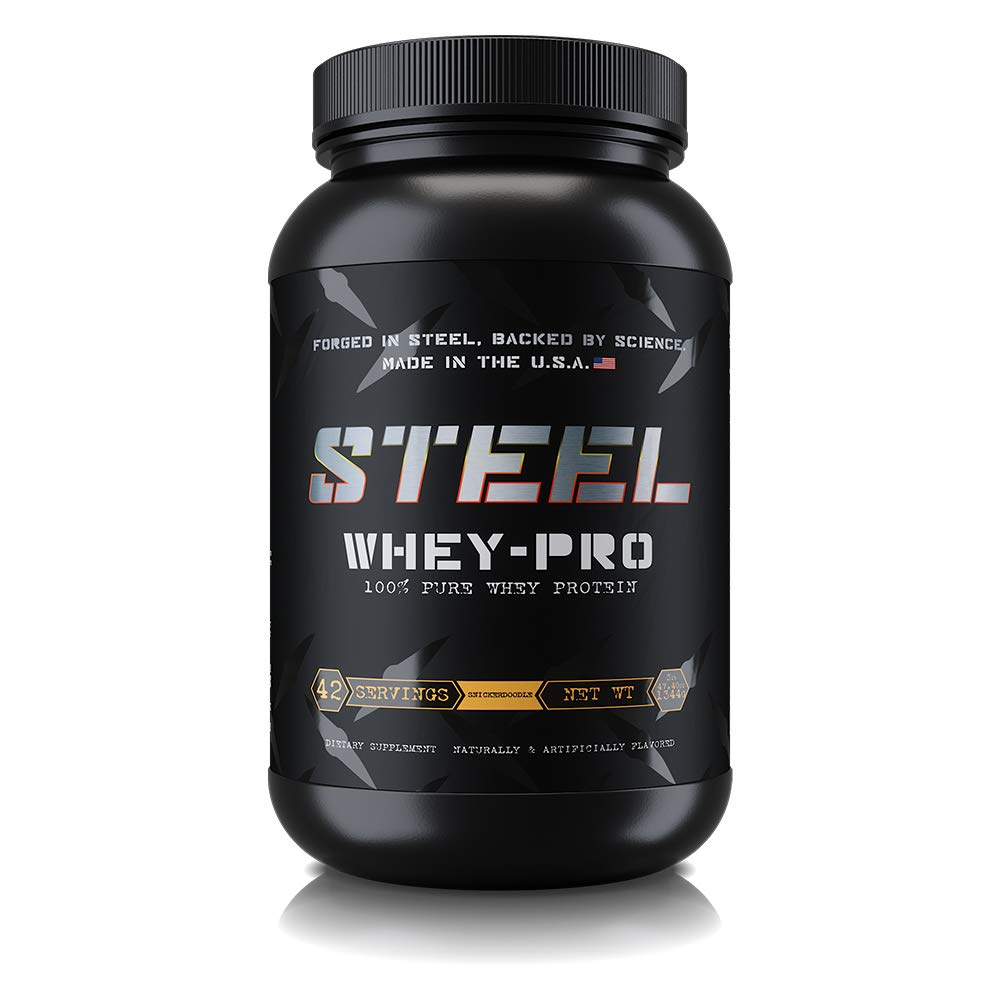 Steel Supplements Whey-PRO Whey Protein Powder Supplement Supports Lean Muscle Gains 3 Pounds Snickerdoodle