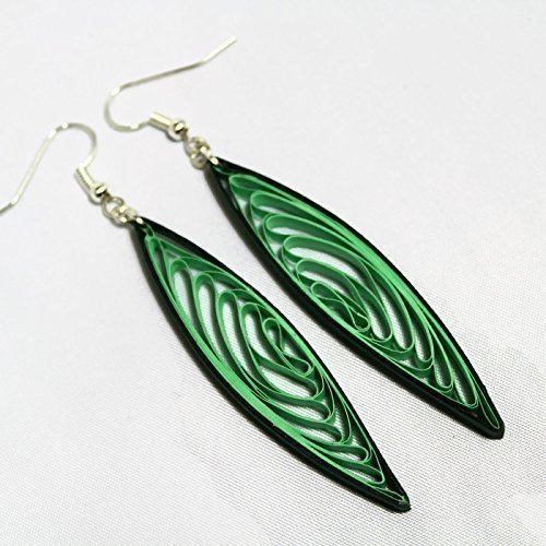 Handmade Long Green Dangle Earrings Anniversary Gift, Paper Quilling Jewelry