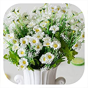 meiguiyuan Fake Flowers 28 Heads Spring Daisy Flowers Artificial Flower Gerbera Daisy Flowers Heads for DIY Wedding Party Decoration Flores 42