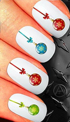 Christmas Nail art decals transfer stickers Cute christmas baubles balls assortment (Bauble Art)