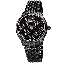 Sparkling Black Dial Watch with Swarovski Crystals