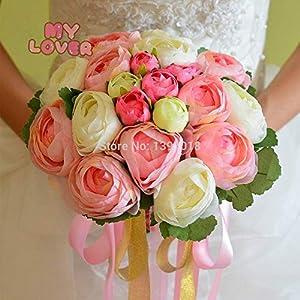 LAROSS Camellia Artificial Flowers Camellia Flower [4 Color] (22heads/Bunch) 2017 New.Silk/Simulation / Artificial Flower Camellia Romantic,Wedding/Bridal Bouquet (Random) 39