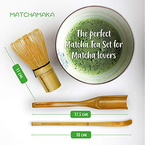 MATCHAMAKA Matcha whisk Tea Set - Japanese Matcha Whisk (Chasen), Traditional Scoop (Chashaku), Tea Spoon - The Perfect Matcha green tea ceremony set - Traditional MATCHA KIT