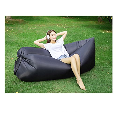 Price comparison product image Mofeng Inflatable Lounger Air Sofa with Portable Package for Travelling, Camping, Hiking, Pool and Beach Parties (Black)