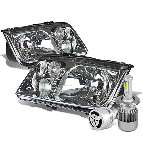 yp 1J Pair of OE Style Chrome Housing Headlight + H4 LED Conversion Kit W/ Fan (99 Vw Volkswagen Jetta Headlight)
