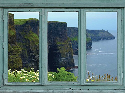 Green cliffs of Ireland facing the sea - Misty spring morning