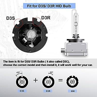 RCP - D3S6 - (A Pair) D3S 6000K Xenon HID Repcement Bulb Diamond White Metal Stents Base 12V Car Headlight Lamps Head Lights 35W: Automotive