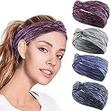 4 Pack Women Headband Criss Cross Head Wrap Hair Band Stretchy Headwraps Yoga Running Sports Hairband for Women Yoga Sports Headband Lightweight Working out Headbands