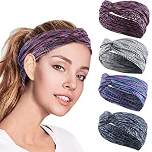 4PCS Women Workout Headband Lightweight Soft Wicking Stretchy Head Wrap Ideal for Sports/Yoga/Pilates/Dancing/Running/Cycling/Fitness Exercise/Travel (4 Colors)