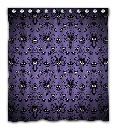 Gdcover Happy Halloween Haunted Mansion Design Waterproof Shower Curtain Fabric for Home Bathroom Decor 66x72 Inches