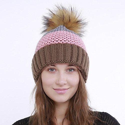 A Grey Pink Capa Otoño Sola Home Cálido E Color Mujer Juego Qinch Para color De Sombreros Invierno Una Punto Rizado Lana RBzvwavHq