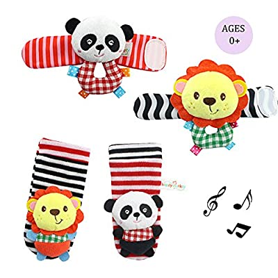 Daisy 4 Animal Baby Wrist Rattle and Foot Finder Socks Set Development Toys Gift for Infant Boy Girl - Lion and Panda by Daisy's dream that we recomend individually.
