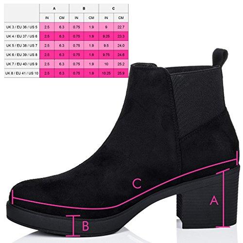 Ankle POPCORN Boots Style Women's Suede Black Chelsea Block Heel SPYLOVEBUY YwxfY