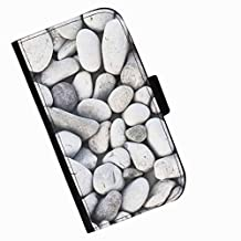 Hairyworm - Lots of pale stones HTC Desire 626 leather side flip wallet cell phone case, cover with card slots, money slot and magnetic clasp to close.