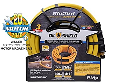 """BluBird Oil-Shield: 3/8"""" x 50' RMA Class A Professional Rubber Air Hose: The Lightest & Strongest Oil Resistent Hose w/ 3 Year Warranty"""