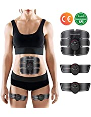 Charminer Ab Toner, EMS Muscle Trainer, Abdominal Toning Belts, Wireless Body Gym Workout Fitness Equipment For Abdomen/Arm/Leg Training Men & Women Black Red