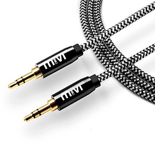 6ft long Nylon Braided Original Mivi Tough Aux Audio Cable(Black)