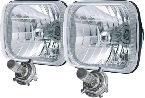 Rampage Products 5089927 200mm Rectangular Headlight Conversion Kit, H4 55/60W Bulbs, Cast Housing, Clear Glass Lens, Meets DOT/SAE.